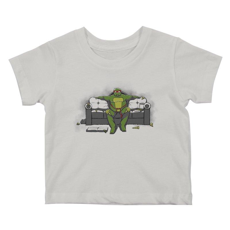 Ninja Fat Turtle Kids Baby T-Shirt by Tomas Teslik's Artist Shop