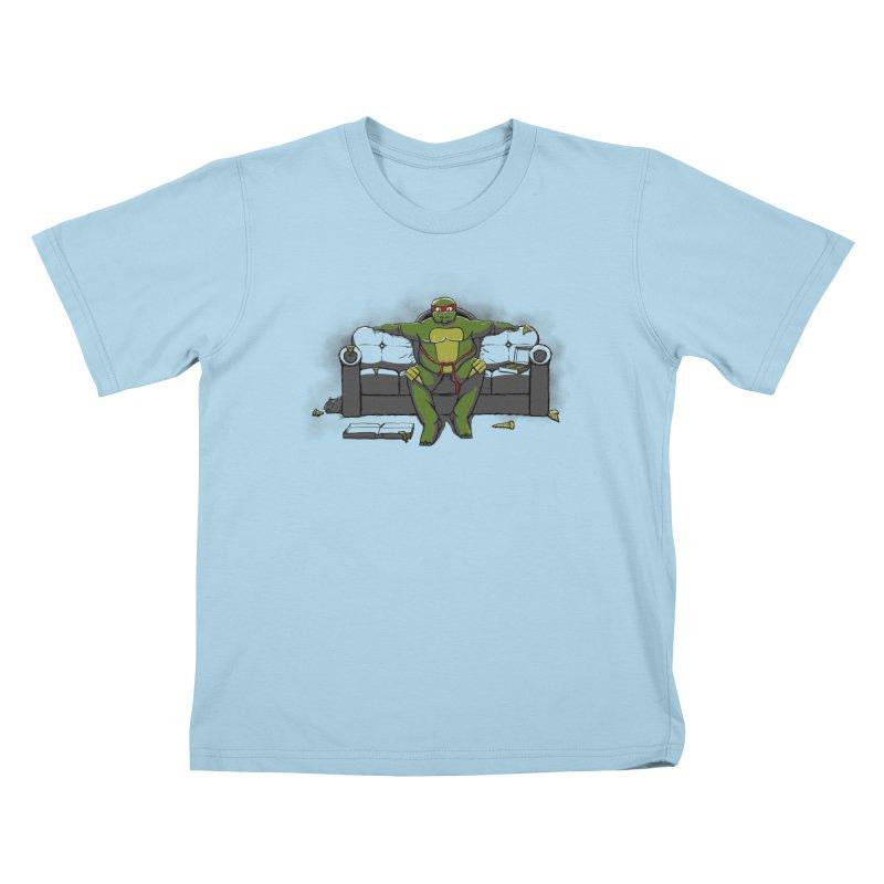 Ninja Fat Turtle Kids T-shirt by Tomas Teslik's Artist Shop