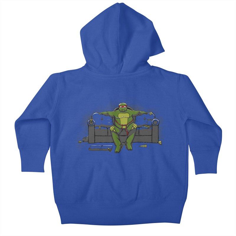 Ninja Fat Turtle Kids Baby Zip-Up Hoody by Tomas Teslik's Artist Shop