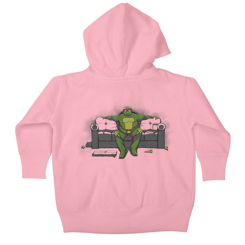 Ninja Fat Turtle Kids Baby Zip-Up Hoody by Tomas Teslik's Artist Shop