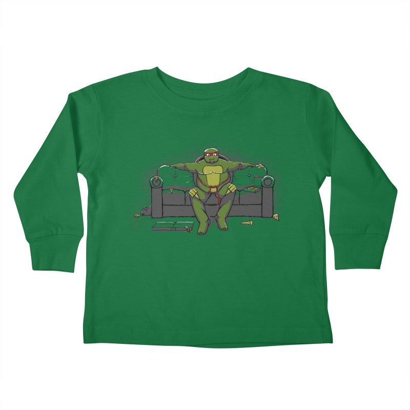 Ninja Fat Turtle Kids Toddler Longsleeve T-Shirt by Tomas Teslik's Artist Shop