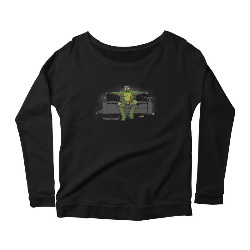 Ninja Fat Turtle Women's Longsleeve Scoopneck  by Tomas Teslik's Artist Shop
