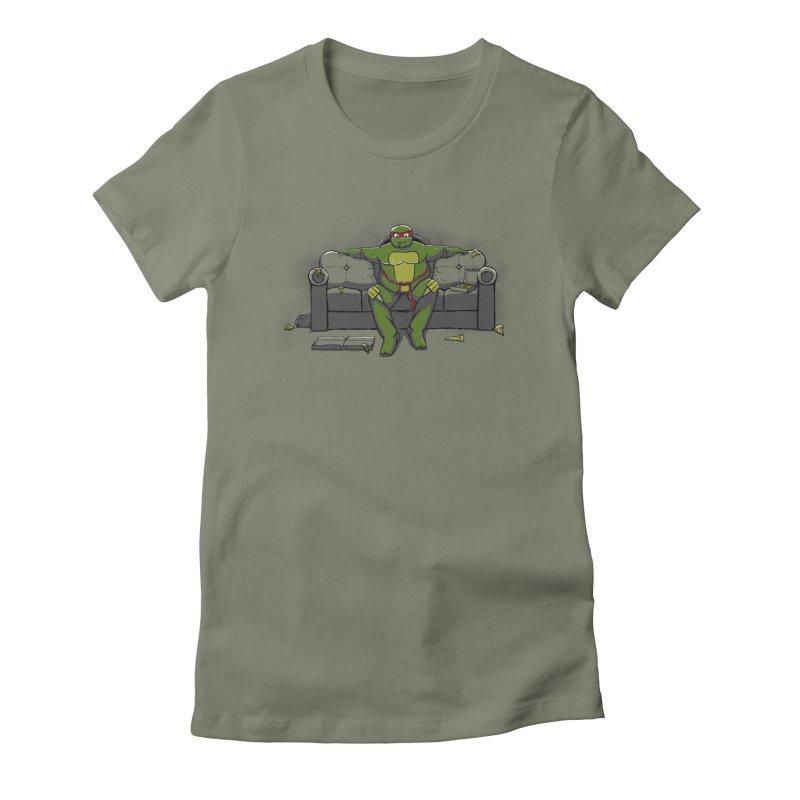 Ninja Fat Turtle Women's Fitted T-Shirt by Tomas Teslik's Artist Shop