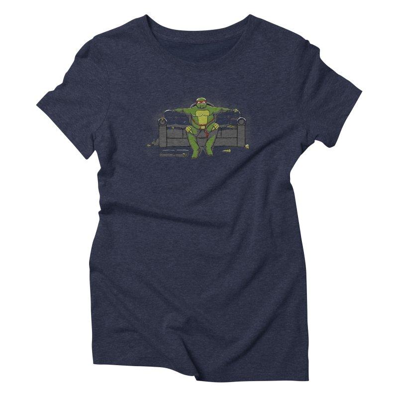 Ninja Fat Turtle Women's Triblend T-Shirt by Tomas Teslik's Artist Shop
