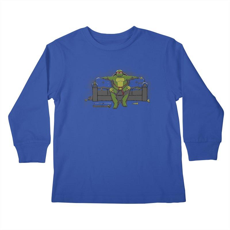 Ninja Fat Turtle Kids Longsleeve T-Shirt by Tomas Teslik's Artist Shop