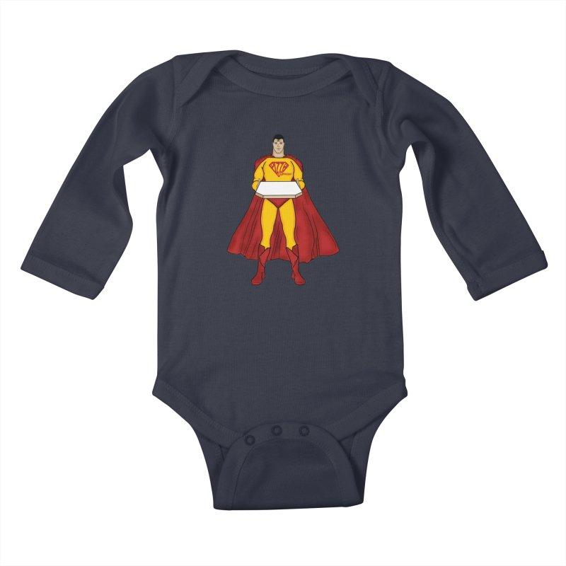 Pizza Express Kids Baby Longsleeve Bodysuit by Tomas Teslik's Artist Shop