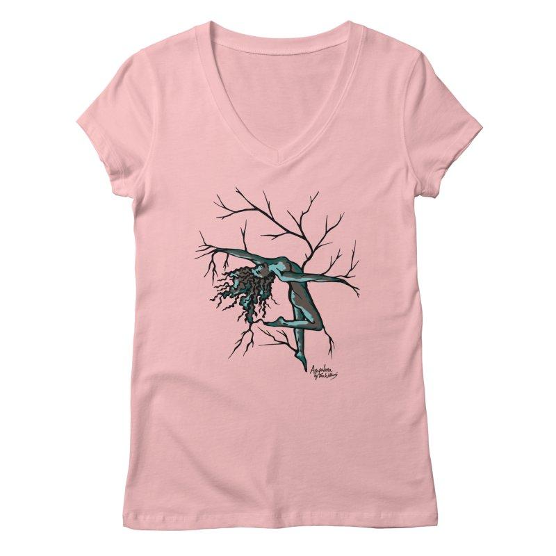 Tree Dancer 2 - Moss Tones Women's V-Neck by Anapalana by Tona Williams Artist Shop