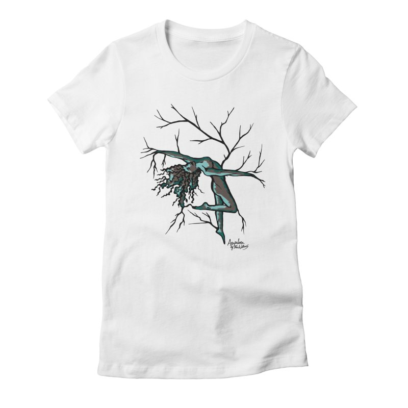 Tree Dancer 2 - Moss Tones Women's Fitted T-Shirt by Anapalana by Tona Williams Artist Shop