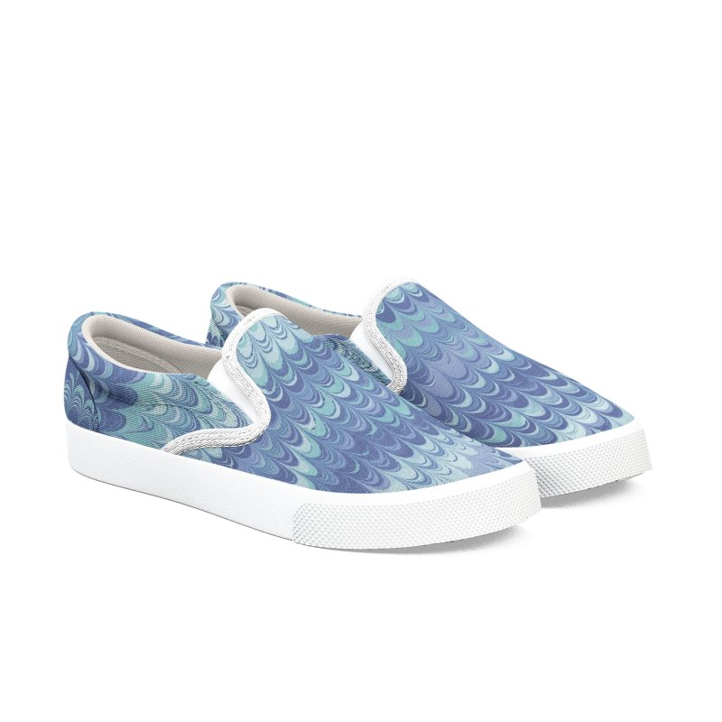 Marbled Blue Non-pareil Women's Slip-On Shoes by tonilee's Artist Shop