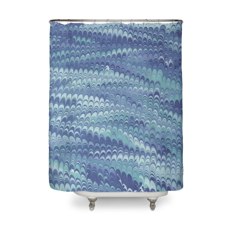 Marbled Blue Non-pareil Home Shower Curtain by tonilee's Artist Shop