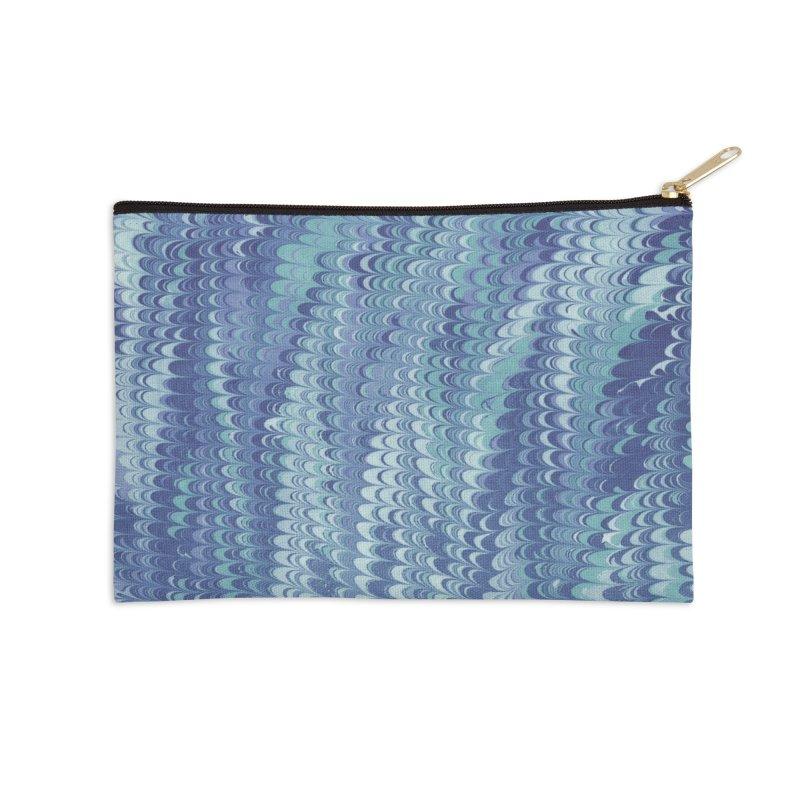 Marbled Blue Non-pareil Accessories Zip Pouch by tonilee's Artist Shop