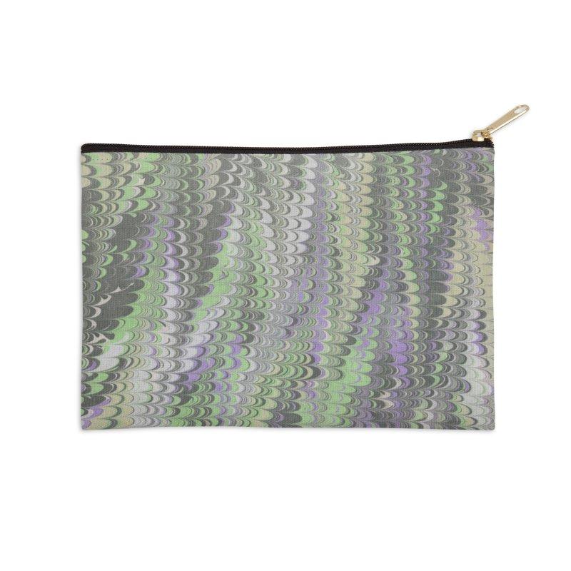 Marbled Purple Green Non-pareil Accessories Zip Pouch by tonilee's Artist Shop