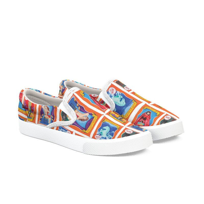 Sideshow Banner Multi Pattern, White Background Men's Slip-On Shoes by tonilee's Artist Shop