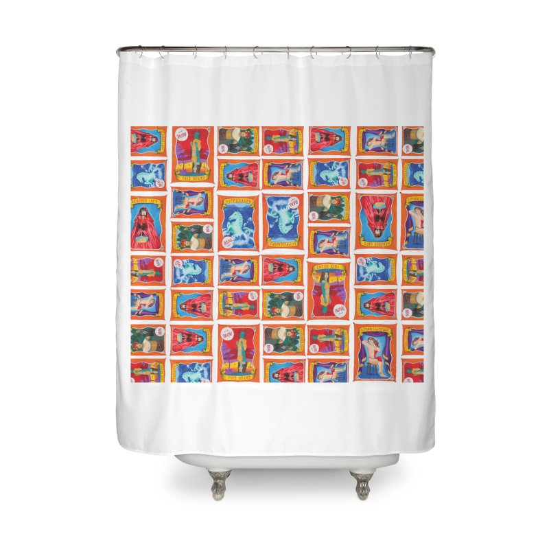Sideshow Banner Multi Pattern, White Background Home Shower Curtain by tonilee's Artist Shop