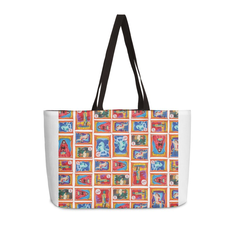 Sideshow Banner Multi Pattern, White Background Accessories Weekender Bag Bag by tonilee's Artist Shop