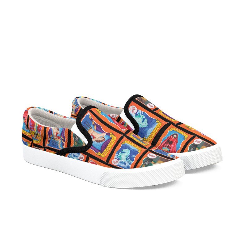 Sideshow Banner Multi Pattern, Black Background Women's Slip-On Shoes by tonilee's Artist Shop