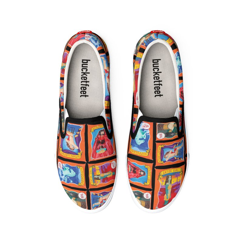 Sideshow Banner Multi Pattern, Black Background Men's Shoes by tonilee's Artist Shop