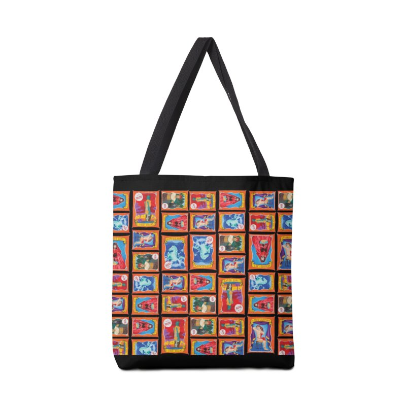 Sideshow Banner Multi Pattern, Black Background Accessories Tote Bag Bag by tonilee's Artist Shop