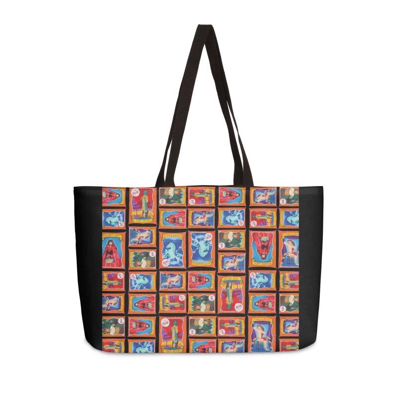 Sideshow Banner Multi Pattern, Black Background Accessories Weekender Bag Bag by tonilee's Artist Shop