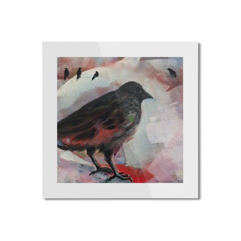 Crow on a Wire Home Mounted Aluminum Print by tonilee's Artist Shop
