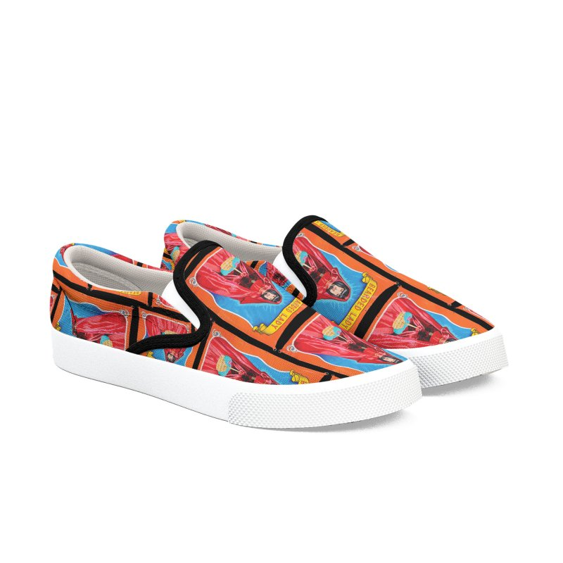 Bearded Lady, black background Women's Slip-On Shoes by tonilee's Artist Shop