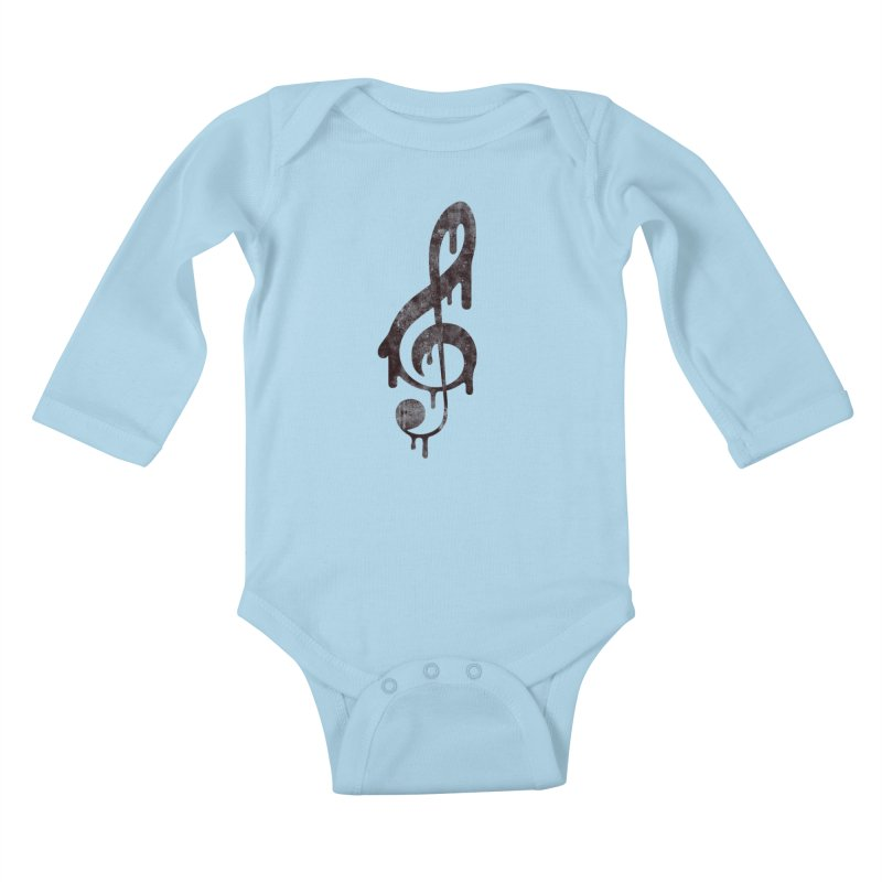 Melting Clef Kids Baby Longsleeve Bodysuit by tonteau's Artist Shop