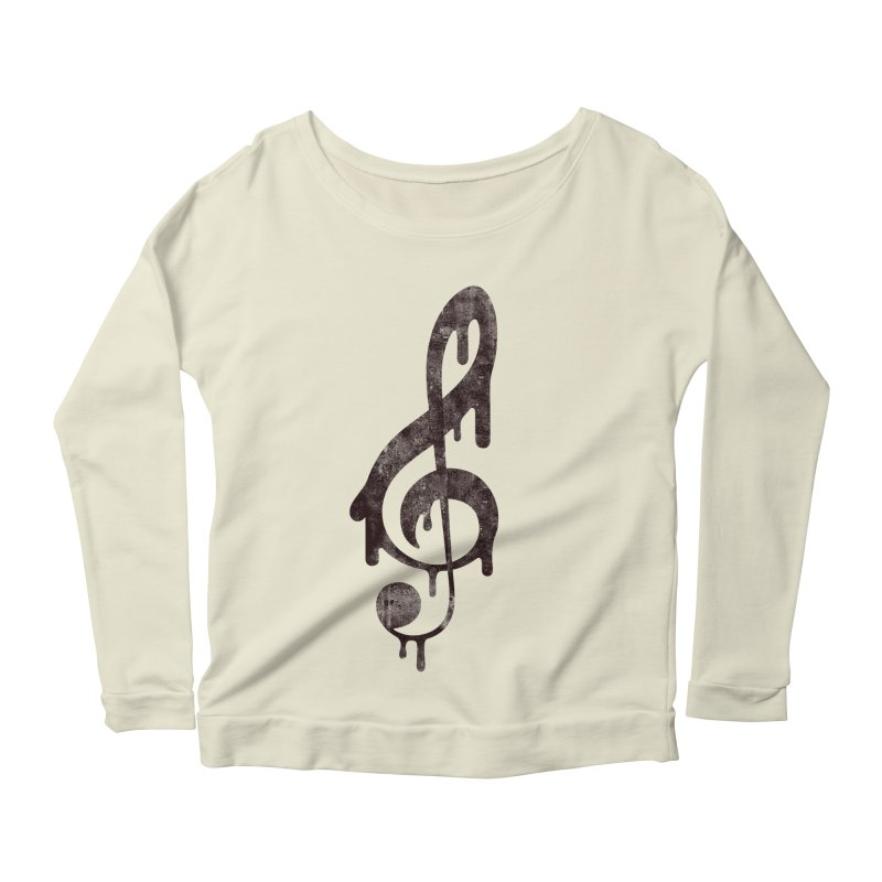 Melting Clef Women's Longsleeve Scoopneck  by tonteau's Artist Shop