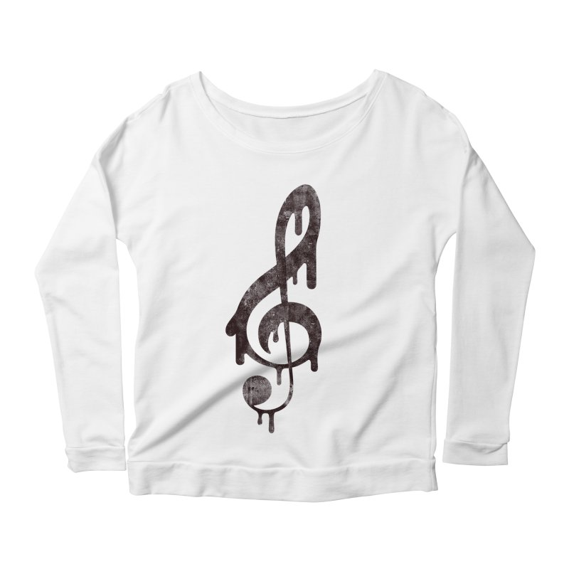 Melting Clef Women's Scoop Neck Longsleeve T-Shirt by tonteau's Artist Shop