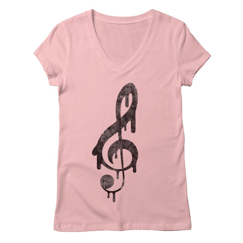 Melting Clef Women's V-Neck by tonteau's Artist Shop