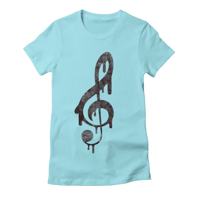 Melting Clef Women's Fitted T-Shirt by tonteau's Artist Shop