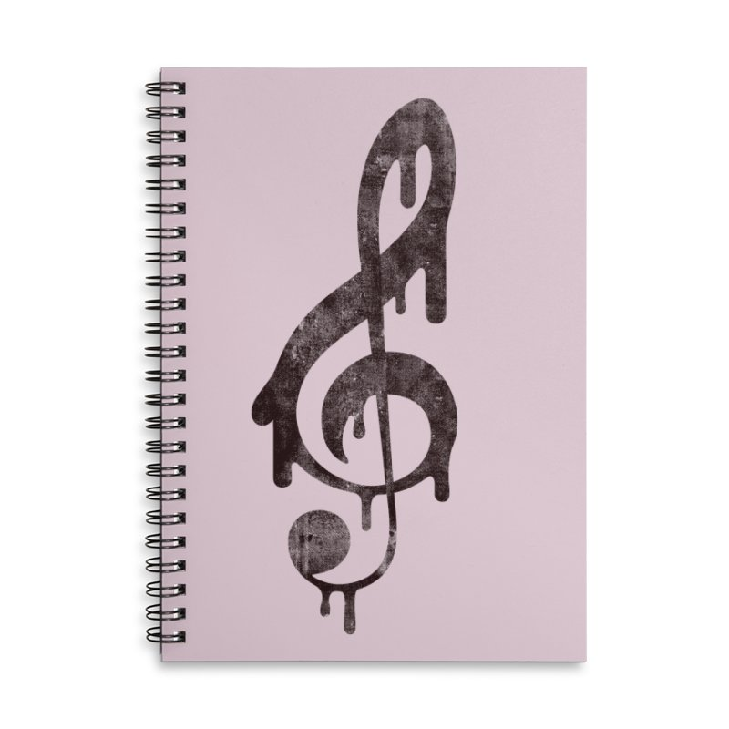 Melting Clef Accessories Lined Spiral Notebook by tonteau's Artist Shop