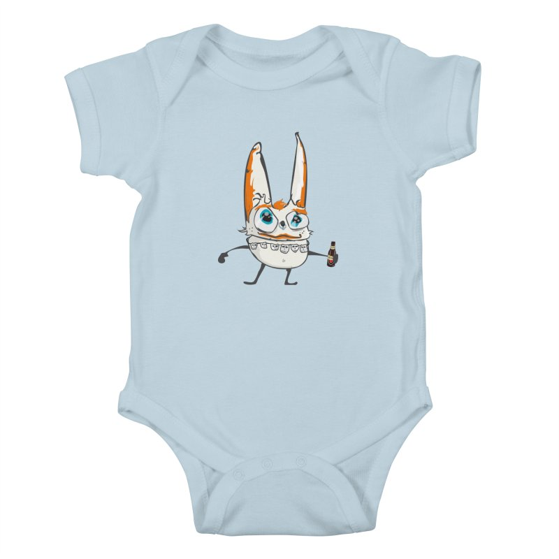 Drunk Rabbit Kids Baby Bodysuit by Tramb