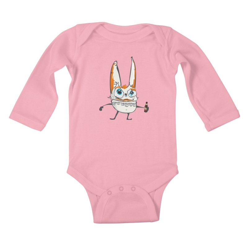 Drunk Rabbit Kids Baby Longsleeve Bodysuit by Tramb