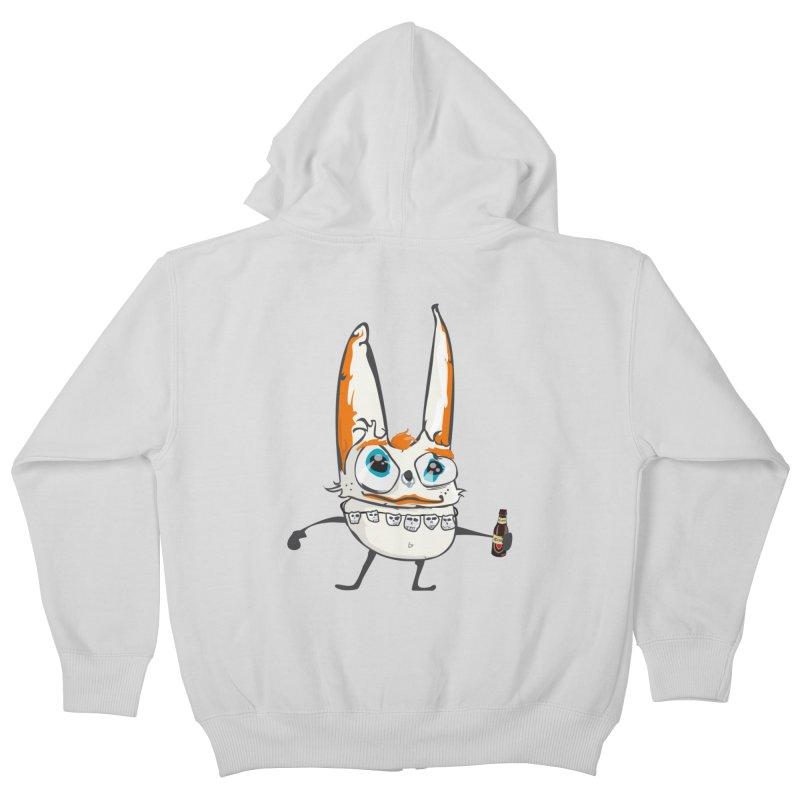 Drunk Rabbit Kids Zip-Up Hoody by Tramb