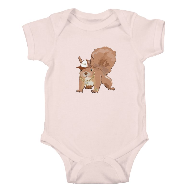 Oldschool Squirrel Kids Baby Bodysuit by Tramb