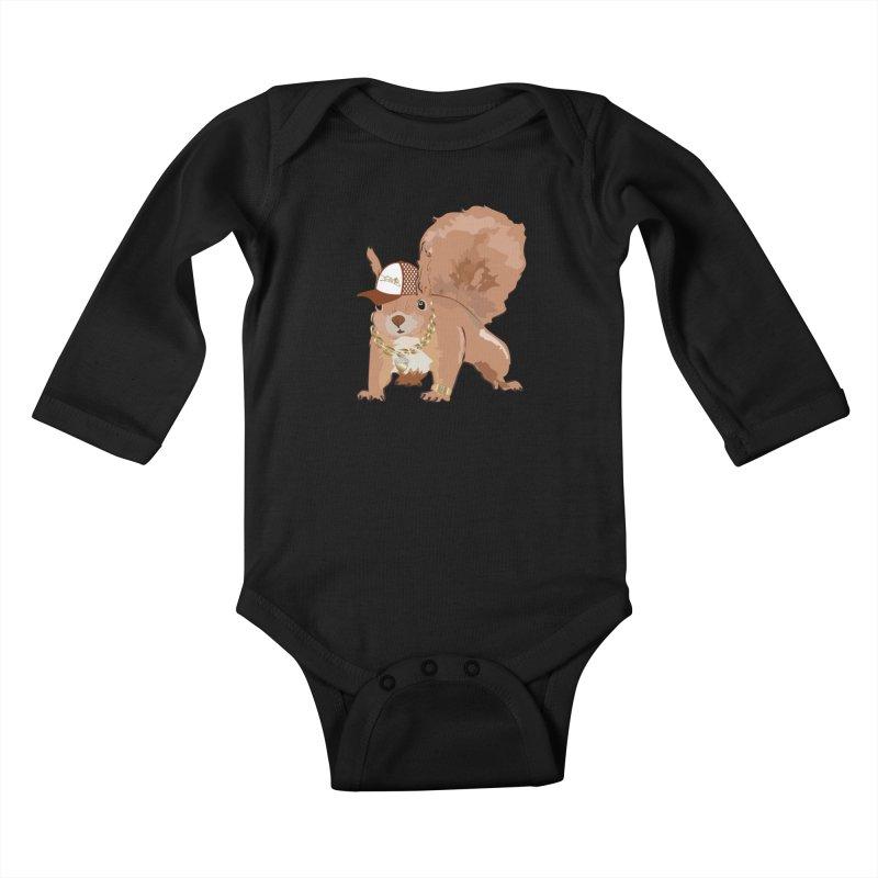 Oldschool Squirrel Kids Baby Longsleeve Bodysuit by Tramb