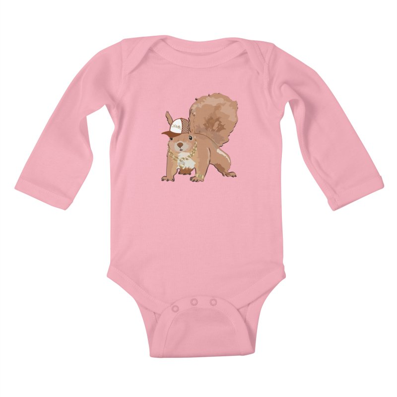 Oldschool Squirrel Kids Baby Longsleeve Bodysuit by Tramb
