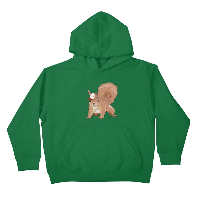 Oldschool Squirrel Kids Pullover Hoody by Tramb