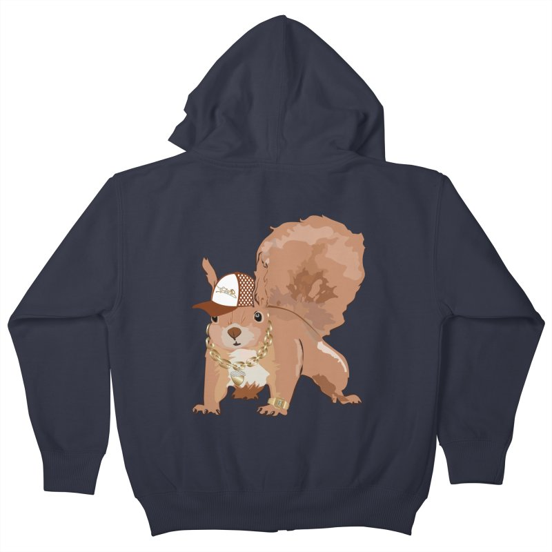 Oldschool Squirrel Kids Zip-Up Hoody by Tramb