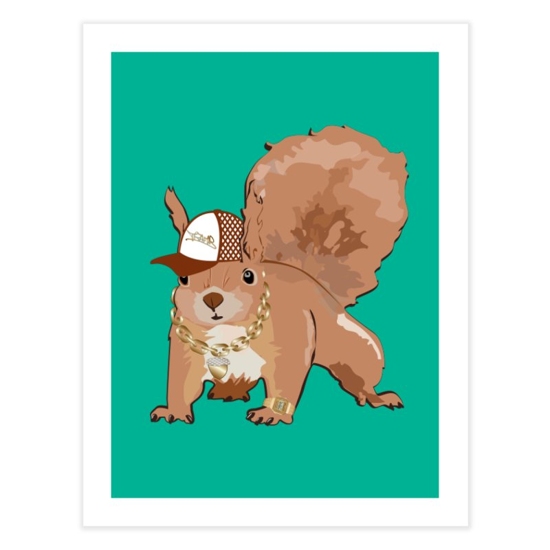 Oldschool Squirrel Home Fine Art Print by Tramb