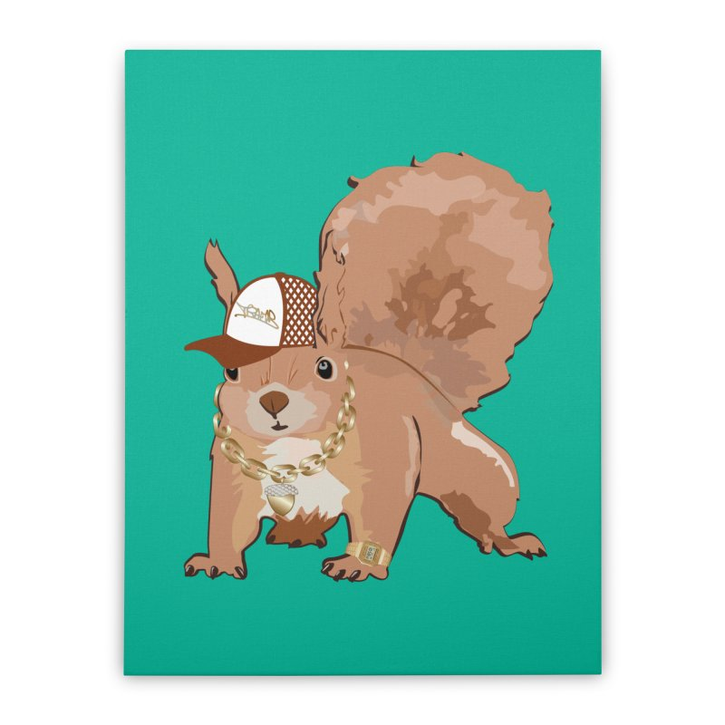 Oldschool Squirrel Home Stretched Canvas by Tramb