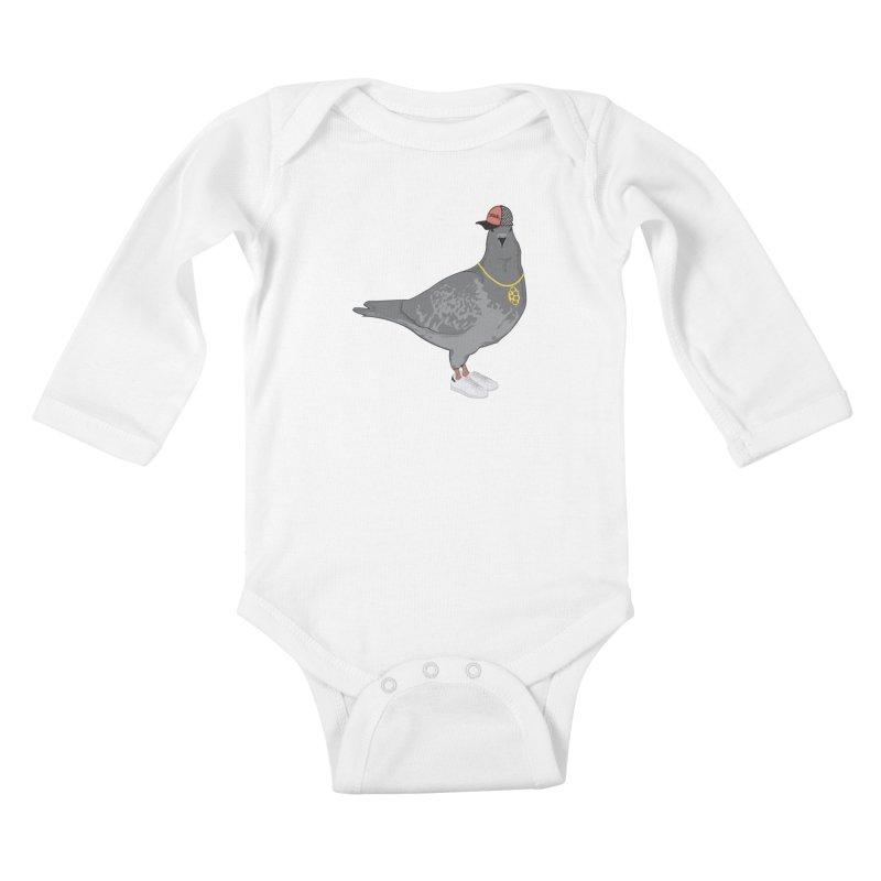Oldschool Pigeon Kids Baby Longsleeve Bodysuit by Tramb