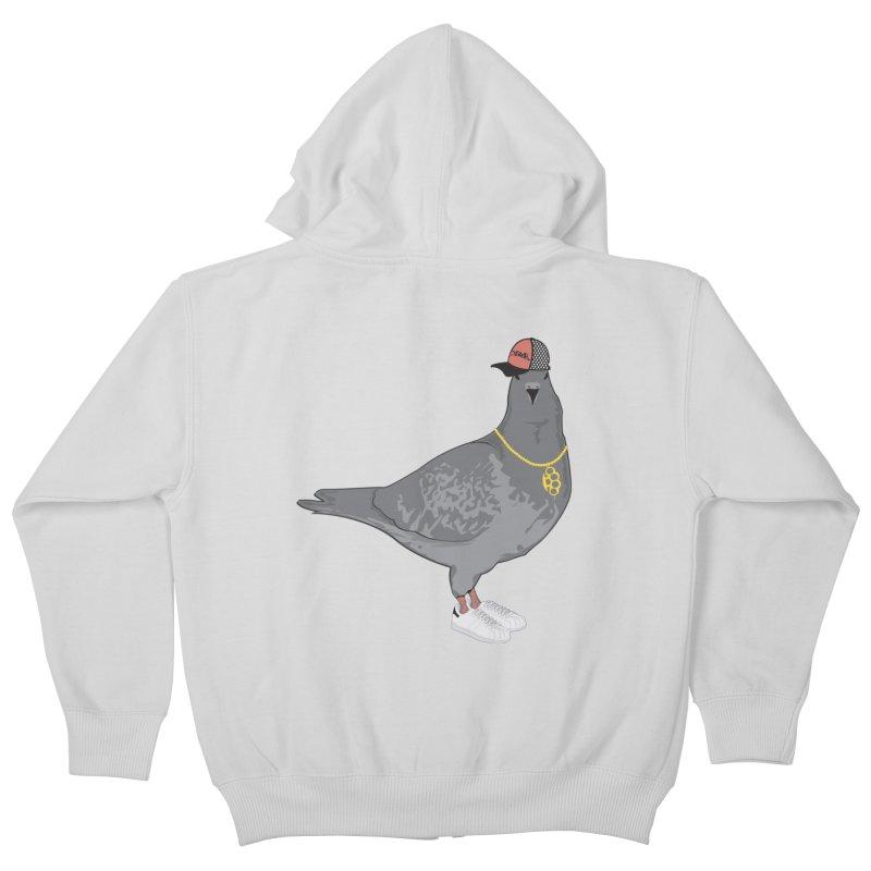 Oldschool Pigeon Kids Zip-Up Hoody by Tramb
