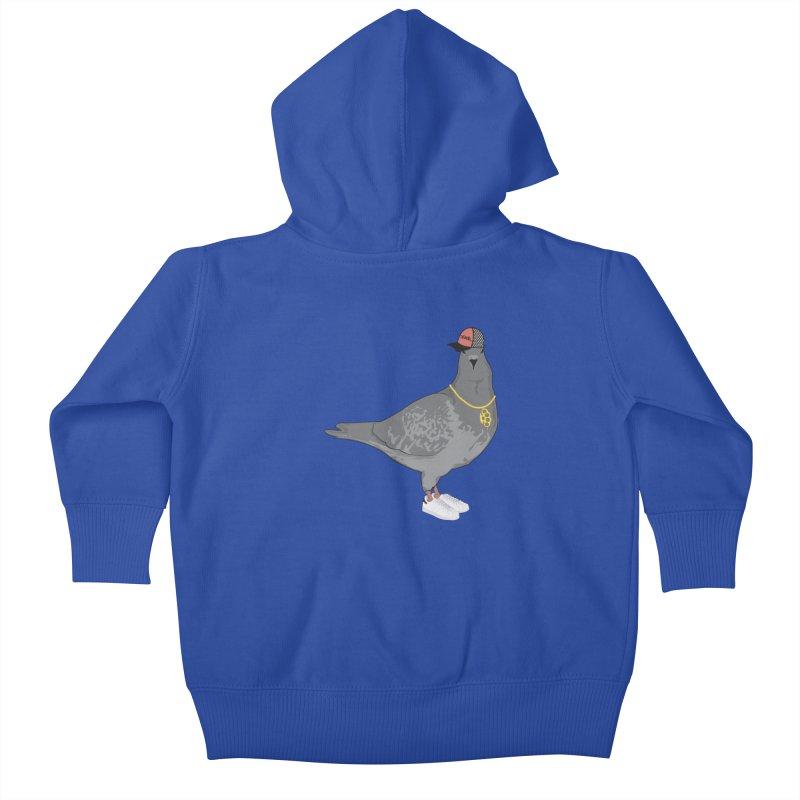 Oldschool Pigeon Kids Baby Zip-Up Hoody by Tramb