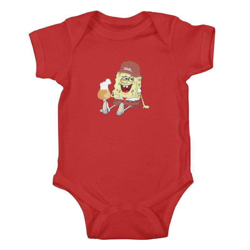 Sponge Beer Kids Baby Bodysuit by Tramb
