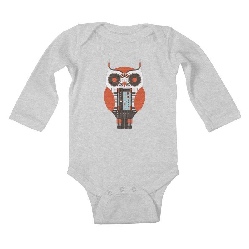 DJ Owl Kids Baby Longsleeve Bodysuit by Tony Bamber's Shop