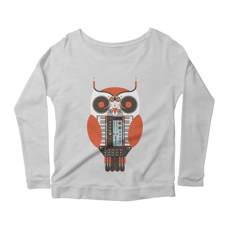 DJ Owl Women's Scoop Neck Longsleeve T-Shirt by Tony Bamber's Shop