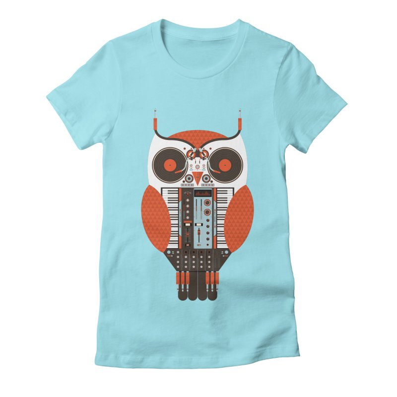 DJ Owl Women's Fitted T-Shirt by Tony Bamber's Shop