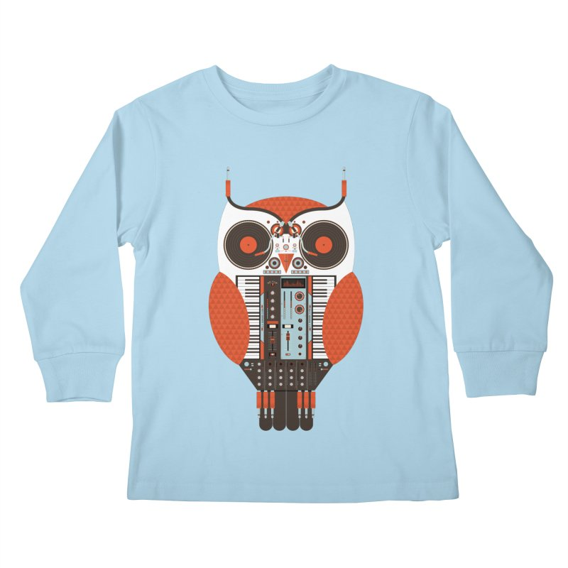 DJ Owl Kids Longsleeve T-Shirt by Tony Bamber's Shop