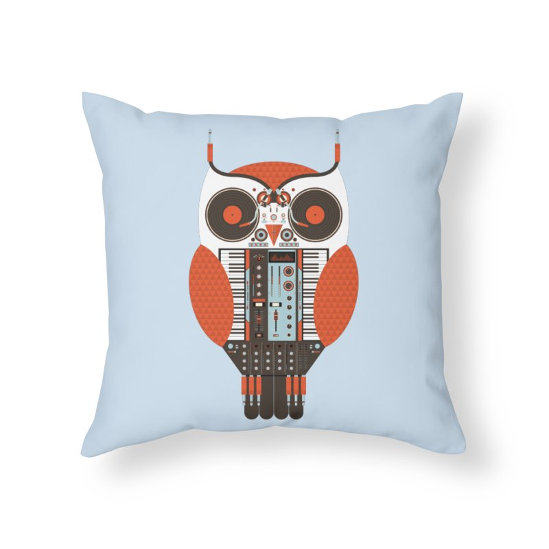 DJ Owl Home Throw Pillow by Tony Bamber's Shop